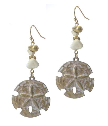 Sand Dollar Semi Precious Stone Earrings