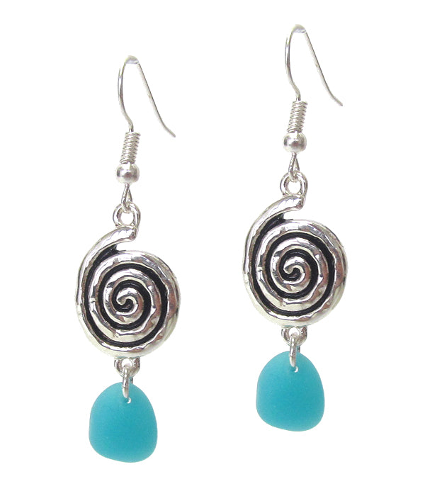 Swirl Disc and Sea Glass Drop Earrings - Fashion Hut Jewelry