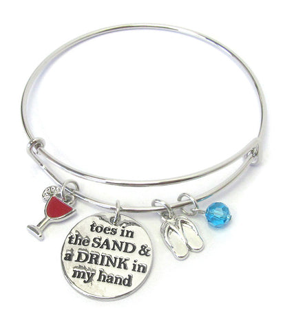 Toes in Sand Drink in Hand Bangle Bracelet - Fashion Hut Jewelry