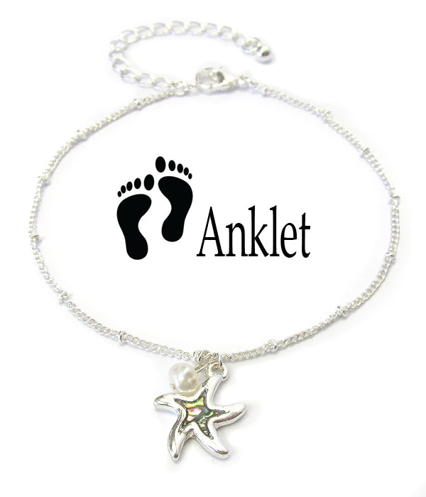 Abalone Charm Starfish Anklet - Fashion Hut Jewelry