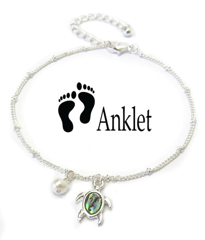Abalone Charm Turtle Anklet Ankle Bracelet - Fashion Hut Jewelry