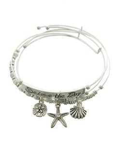 3pcs Stackable StarFish Sand Dollar & Shell Charm Bracelet - Fashion Hut Jewelry