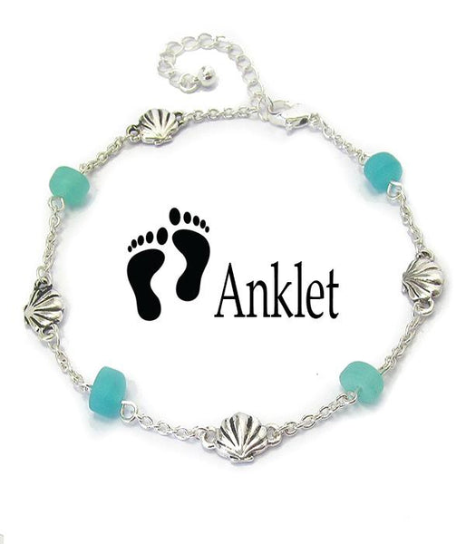 Seashell Seaglass Charm Anklet - Fashion Hut Jewelry