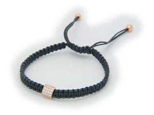 Minimalistic Cz Bar Braided Cord Bracelet in Rose Gold