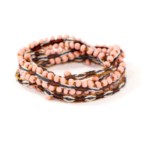 Alpaca Blend, Dusty Rose Beaded, Chestnut Hued Wrap Bracelets - Fashion Hut Jewelry