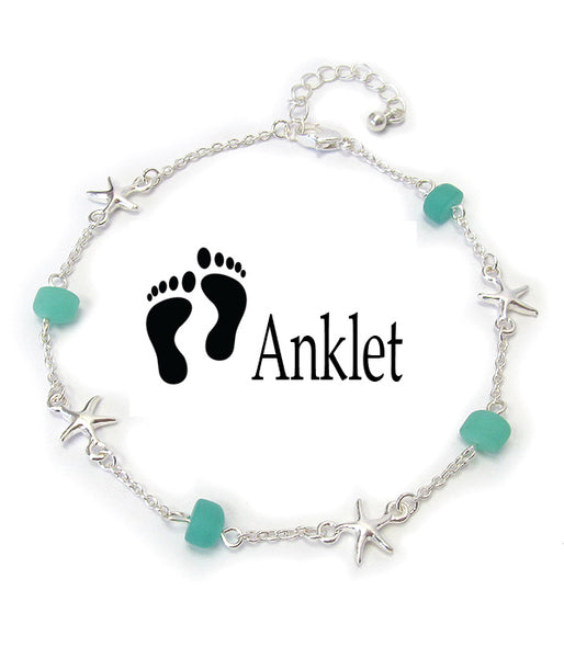 Starfish Seaglass Charm Anklet Ankle Bracelet - Fashion Hut Jewelry