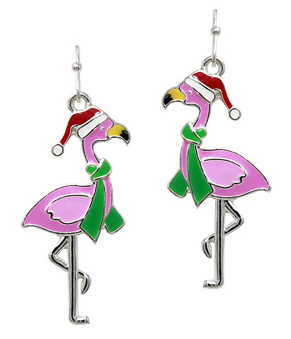 Christmas Flamingo Earrings - Green Scarf Santa Hat - Fashion Hut Jewelry
