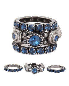 Montana Blue Crystal Stretch Ring Set - Fashion Hut Jewelry