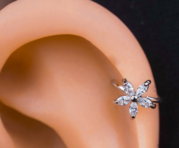 Crystal Flower Ear Cuff Wrap Cartilage Earring - Fashion Hut Jewelry