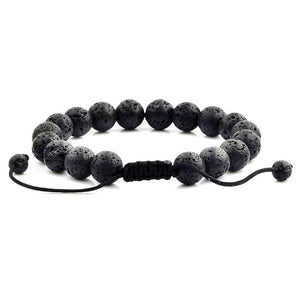 CRUCIBLE MEN'S 10MM NATURAL LAVA STONE BEAD ADJUSTABLE BRACELET
