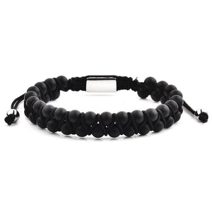 CRUCIBLE MEN'S MATTE BLACK AGATE STONE BEADED ADJUSTABLE BRACELET
