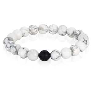 POLISHED 10MM NATURAL STONE BEAD STRETCH BRACELET - HOWLITE