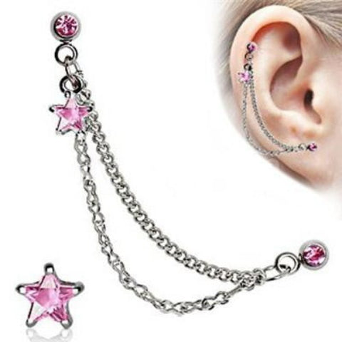 Silver CZ Star Cartilage Earring - Pink - Fashion Hut Jewelry