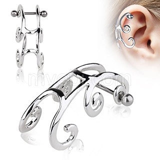 316L Surgical Steel Sleigh Cartilage Earring - Fashion Hut Jewelry