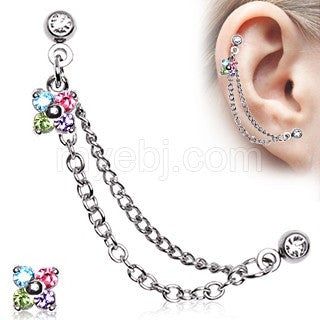 316L Surgical Steel Flower CZ Double Chained Cartilage Earring - Fashion Hut Jewelry