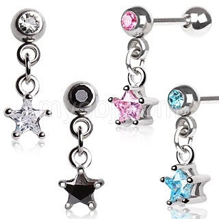 316L Surgical Steel Star Dangle Cartilage Earring - Fashion Hut Jewelry