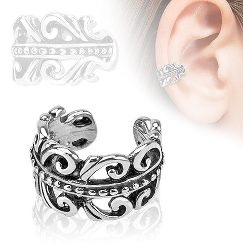 Carved Swirls Rhodium Plated Brass Non Piercing Ear Cuff - Fashion Hut Jewelry
