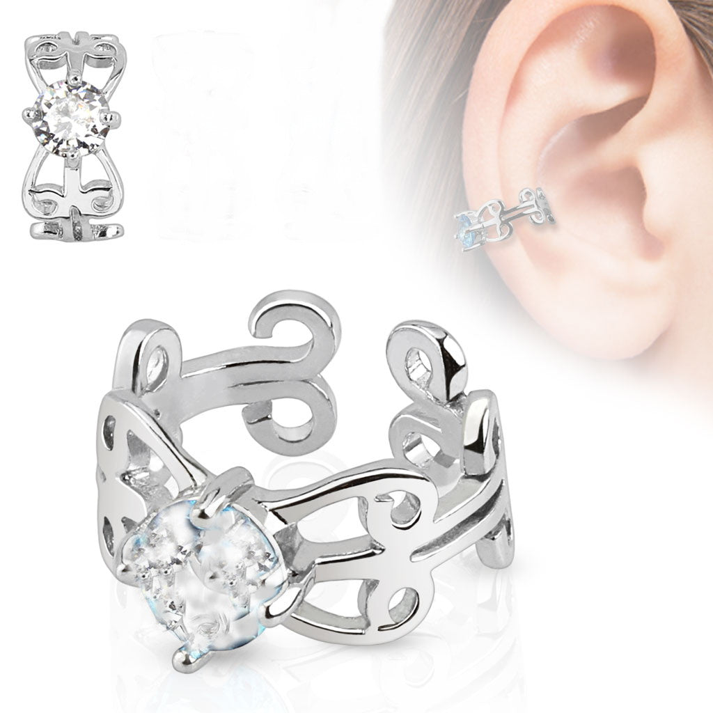 Carved Swirls with Center CZ Rhodium Plated Brass Non Piercing Ear Cuff - Fashion Hut Jewelry