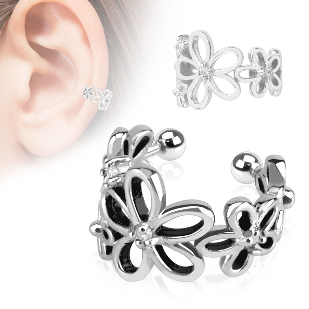 Flower with Clear CZ Rhodium Plated Brass Non-Piercing Ear Cuff - Fashion Hut Jewelry