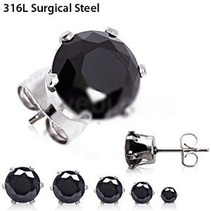 Pair of 316L Surgical Steel Black Round CZ Stud Earrings - Fashion Hut Jewelry