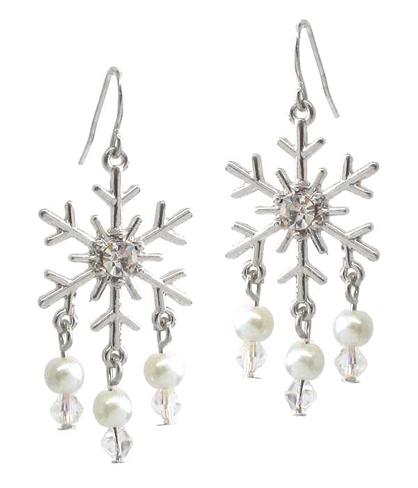 Snowflake Pearl Drop Christmas Earrings - Fashion Hut Jewelry