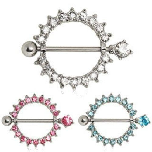 316L Surgical Steel Nipple Ring with Multi CZ Ring - Fashion Hut Jewelry