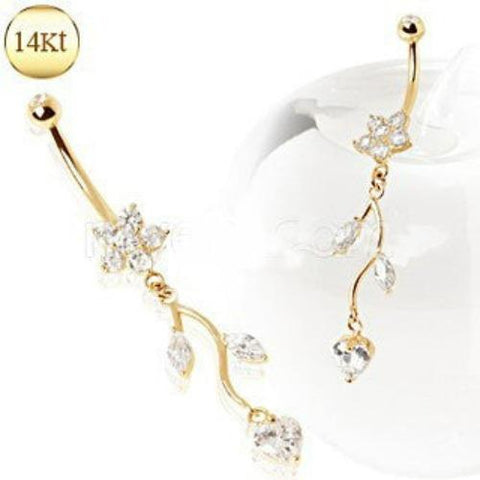14Kt Yellow Gold Navel Ring with Flower & Vine - Fashion Hut Jewelry