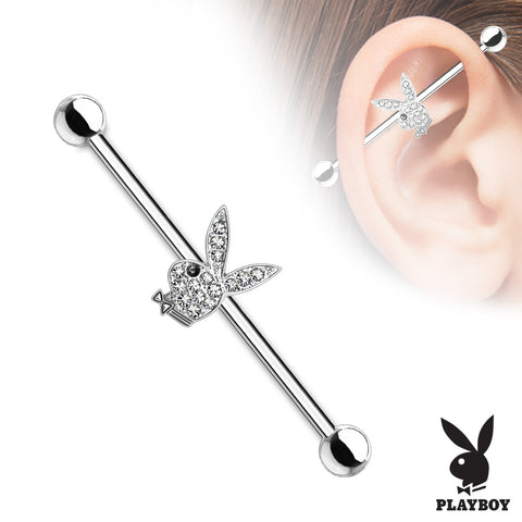 Clear Crystal Paved Playboy Bunny with Black Gem Eye 316L Surgical Steel Industrial Barbell - Fashion Hut Jewelry