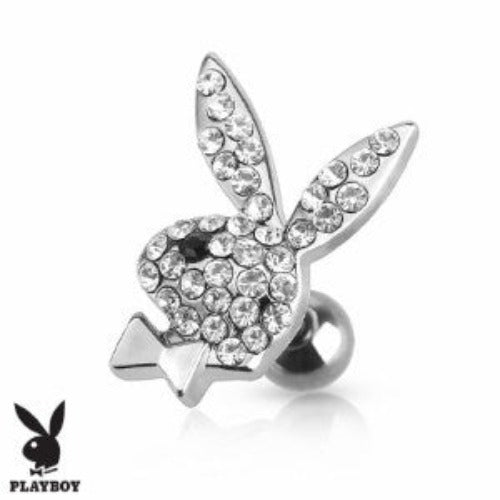 Playboy Bunny with Multi Paved Crystal 316L Surgical Steel Cartilage Earring /Tragus Barbell - Fashion Hut Jewelry