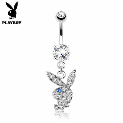Playboy Bunny Belly Ring CZ Paved Head - Fashion Hut Jewelry