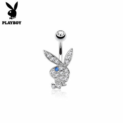 Playboy Bunny Belly Ring CZ Clear /Blue Eye - Fashion Hut Jewelry