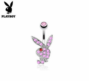 Playboy Bunny Belly Ring CZ Pink /Red Eye - Fashion Hut Jewelry