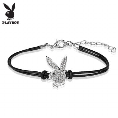 Playboy CZ Paved Bunny Charm Leather and Brass Bracelet - Fashion Hut Jewelry