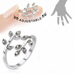 Adjustable Pave Crystal Leaves Ring - Fashion Hut Jewelry