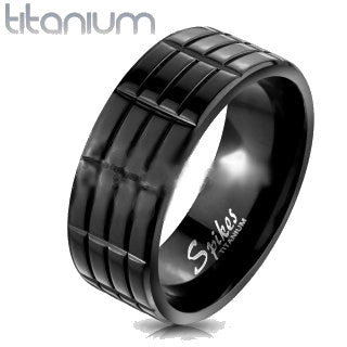 Triple Grooved Solid Titanium Black IP Band Ring - Fashion Hut Jewelry