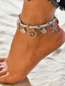 Starfish & Shell Charm Sea Wave Anklet Ankle Bracelet - Fashion Hut Jewelry