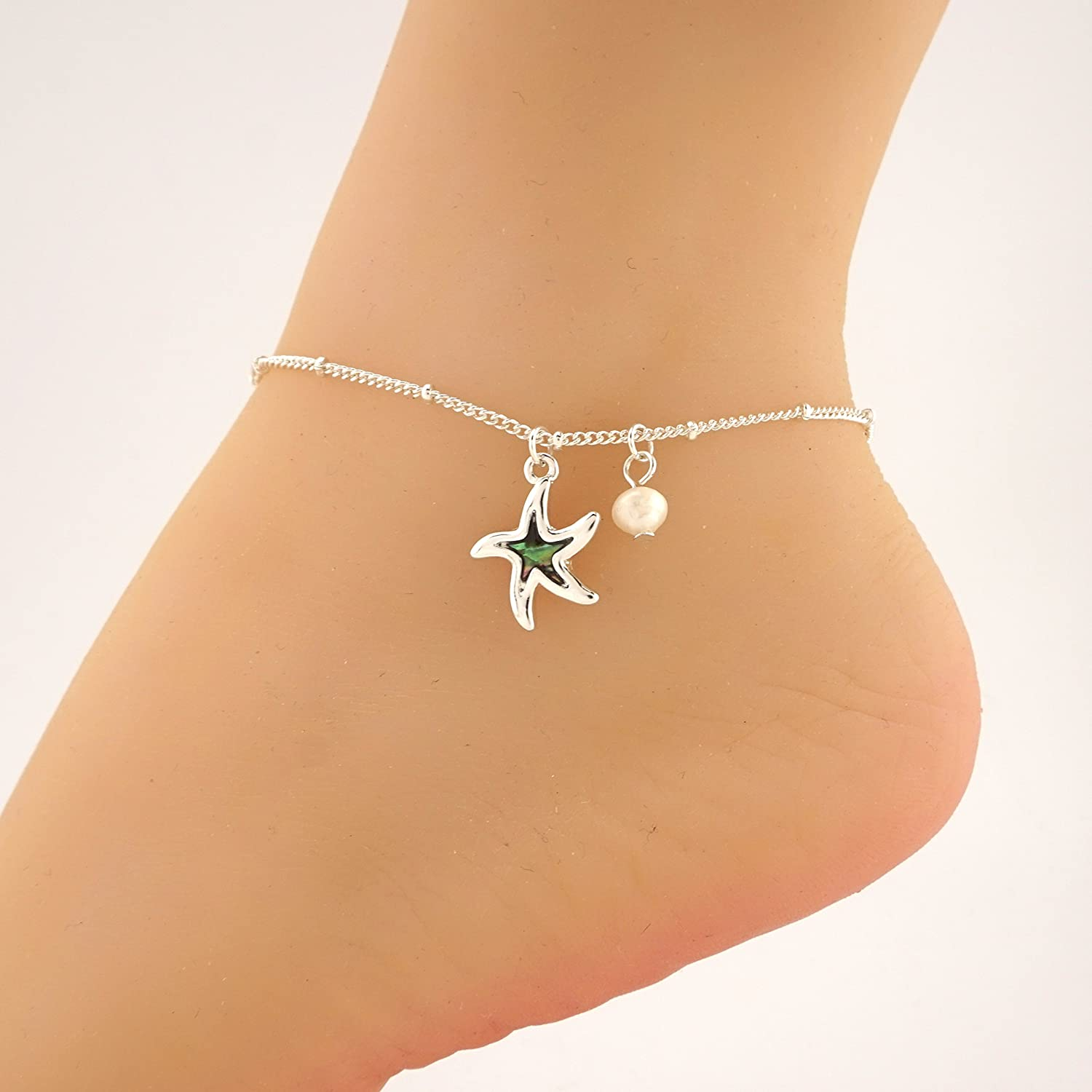 Abalone Charm Starfish Anklet Ankle Bracelet - Fashion Hut Jewelry