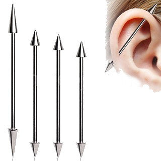 316L Surgical Steel Industrial Barbell with Spikes - Fashion Hut Jewelry