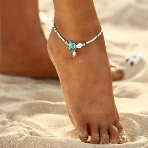 Beach Beaded Starfish Anklet Ankle Bracelet - Fashion Hut Jewelry