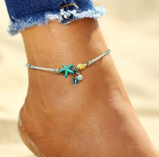 Beach Beaded Starfish Anklet - Fashion Hut Jewelry