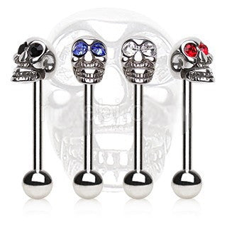 316L Surgical Steel Barbell with a Skull Top - Fashion Hut Jewelry