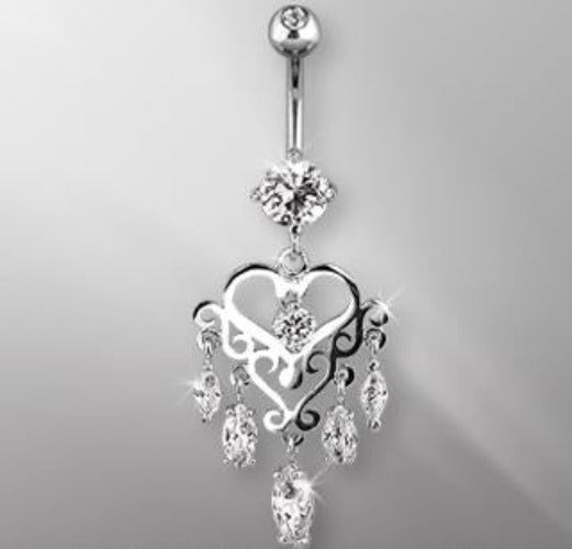 316L Surgical Steel Gemmed Chandelier Heart Dangle Navel Ring - Fashion Hut Jewelry