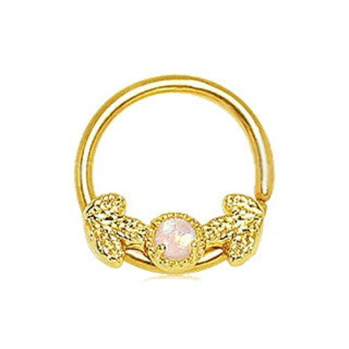 Gold Golden Leaf and Opal Seamless Ring / Septum Ring