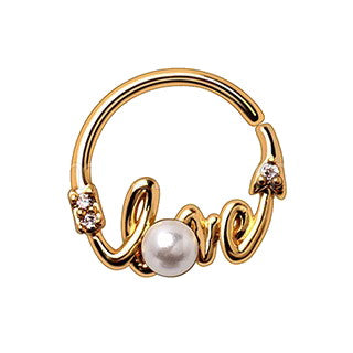 "Gold Plated Jeweled ""LOVE"" Annealed Seamless Ring - Fashion Hut Jewelry"