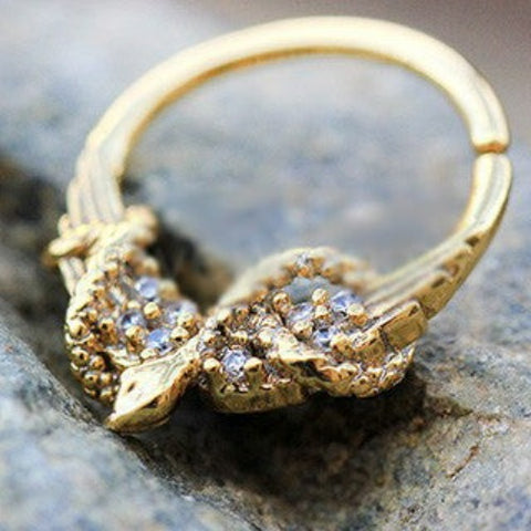 Gold Plated Jeweled Wings and Snake Seamless Ring / Septum Ring - Fashion Hut Jewelry