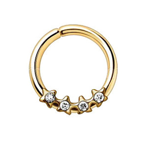 Gold Jeweled Stars Annealed Seamless Ring - Fashion Hut Jewelry