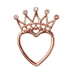 Rose Gold Jeweled Crown Heart Seamless Ring