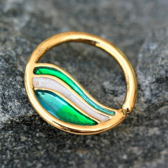 Gold Plated Green Wave Seamless Ring - Fashion Hut Jewelry
