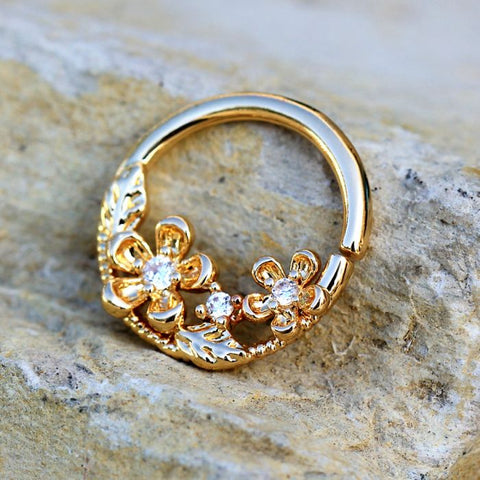 Gold Plated Jeweled Flower Field Seamless Ring