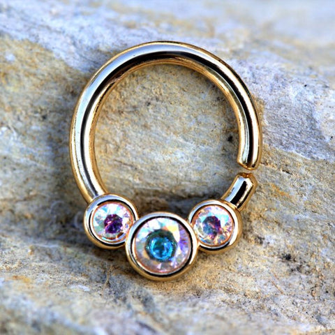 Gold Plated Triple Aurora Borealis CZ Seamless Ring